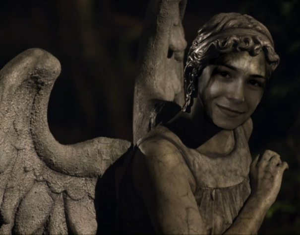 Veronica Belmont as a Weeping Angel